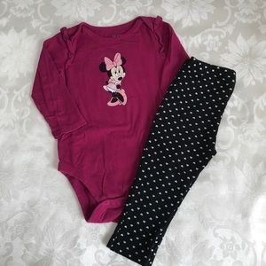 Minnie Mouse Onesie & Heart Leggings 18M